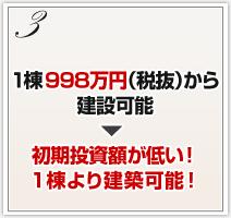 1棟998万円(税抜)から建設可能初期投資額が低い!1棟より建築可能!